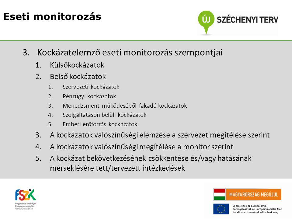 Kockázatelemző eseti monitorozás szempontjai