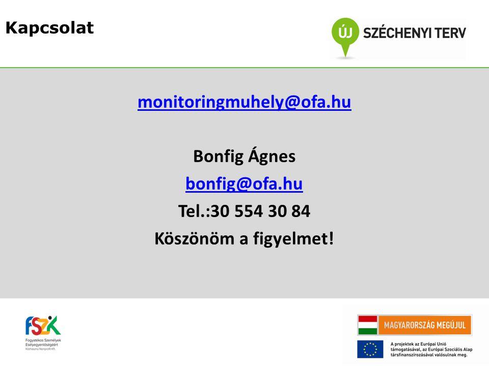 Kapcsolat monitoringmuhely@ofa.hu Bonfig Ágnes bonfig@ofa.hu Tel.:30 554 30 84 Köszönöm a figyelmet.