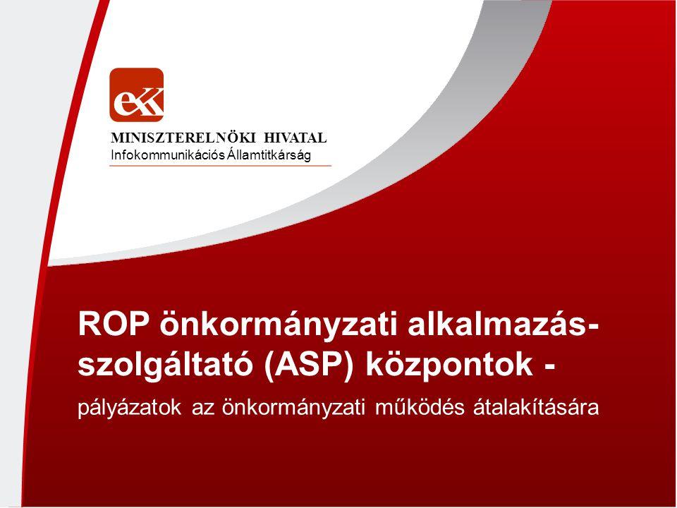 ROP önkormányzati alkalmazás-szolgáltató (ASP) központok -
