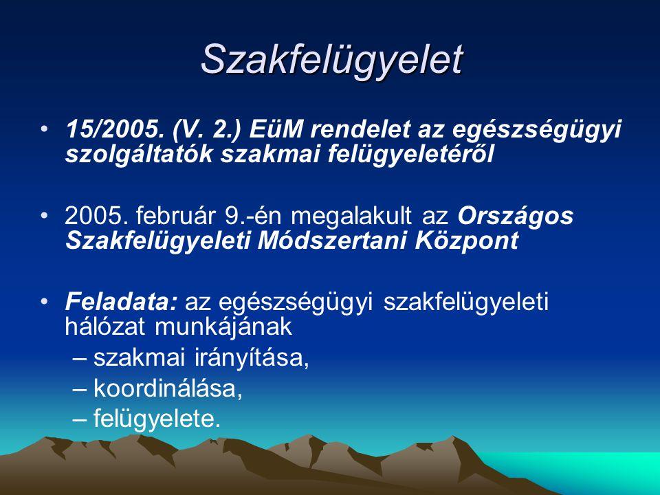 Szakfelügyelet 15/2005. (V. 2.) EüM rendelet az egészségügyi szolgáltatók szakmai felügyeletéről.