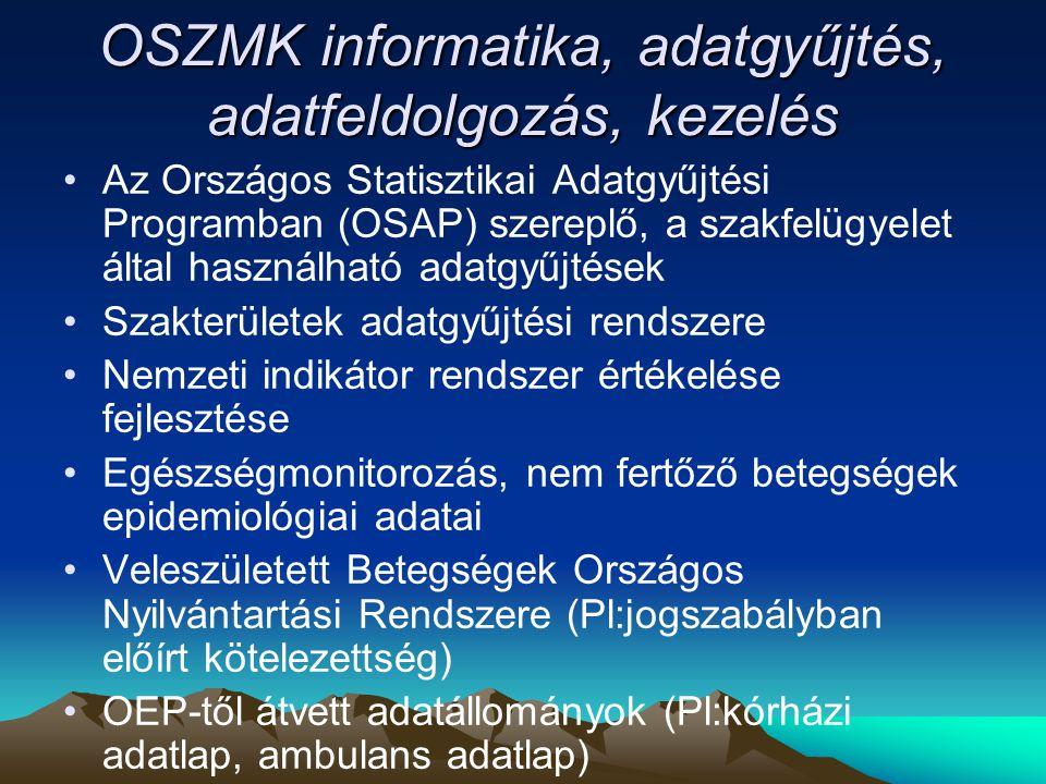 OSZMK informatika, adatgyűjtés, adatfeldolgozás, kezelés