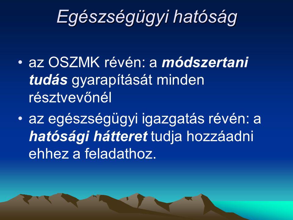 Egészségügyi hatóság az OSZMK révén: a módszertani tudás gyarapítását minden résztvevőnél.
