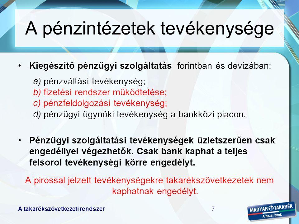 A pénzintézetek tevékenysége