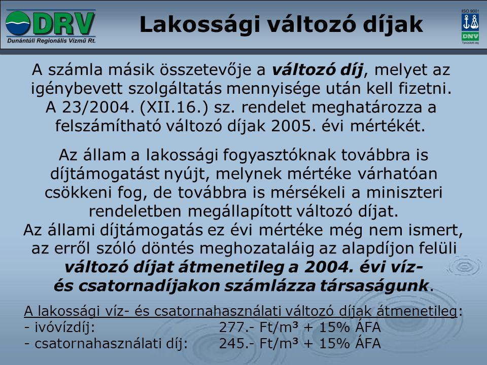 változó díjat átmenetileg a 2004. évi víz-