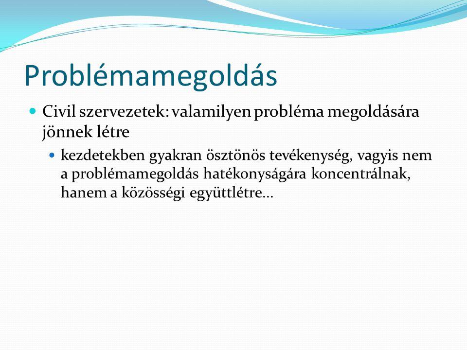 Problémamegoldás Civil szervezetek: valamilyen probléma megoldására jönnek létre.