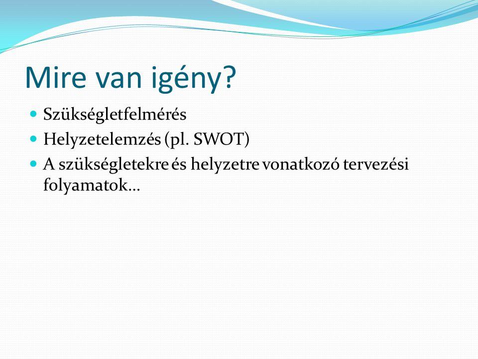 Mire van igény Szükségletfelmérés Helyzetelemzés (pl. SWOT)