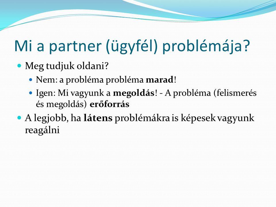 Mi a partner (ügyfél) problémája