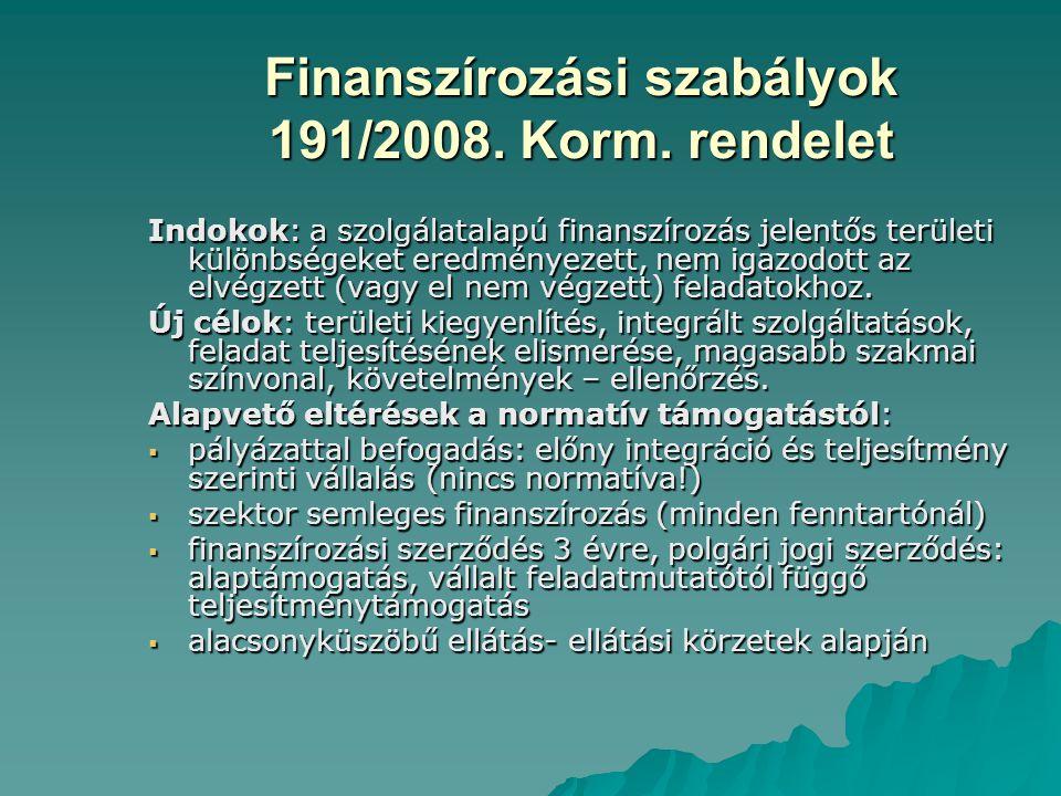 Finanszírozási szabályok 191/2008. Korm. rendelet