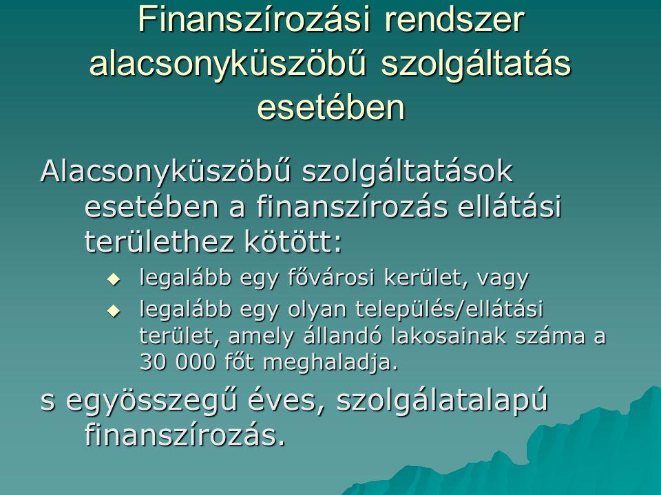 Finanszírozási rendszer alacsonyküszöbű szolgáltatás esetében