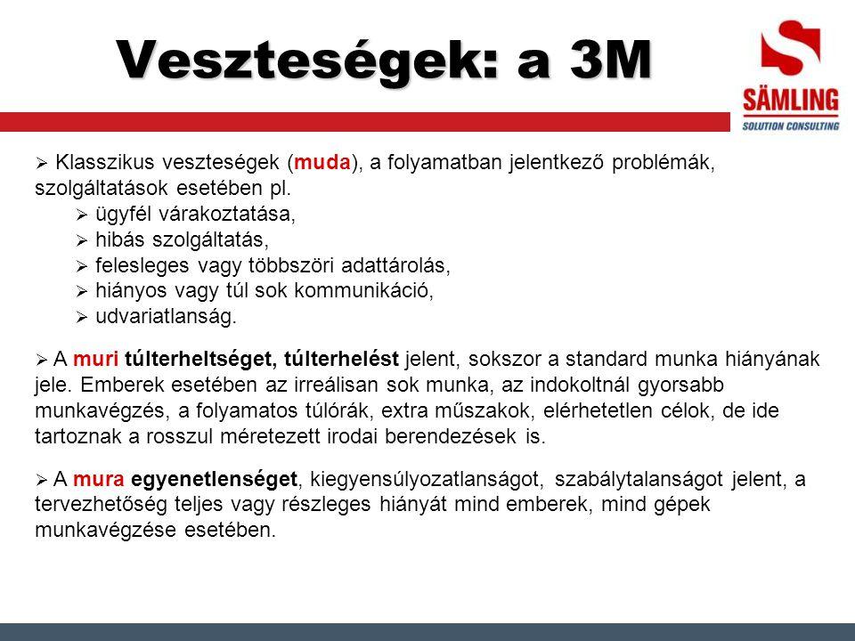 Veszteségek: a 3M Klasszikus veszteségek (muda), a folyamatban jelentkező problémák, szolgáltatások esetében pl.