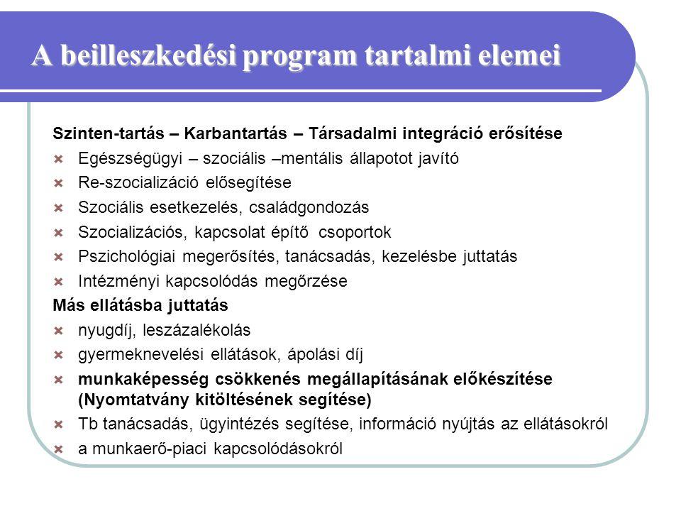 A beilleszkedési program tartalmi elemei