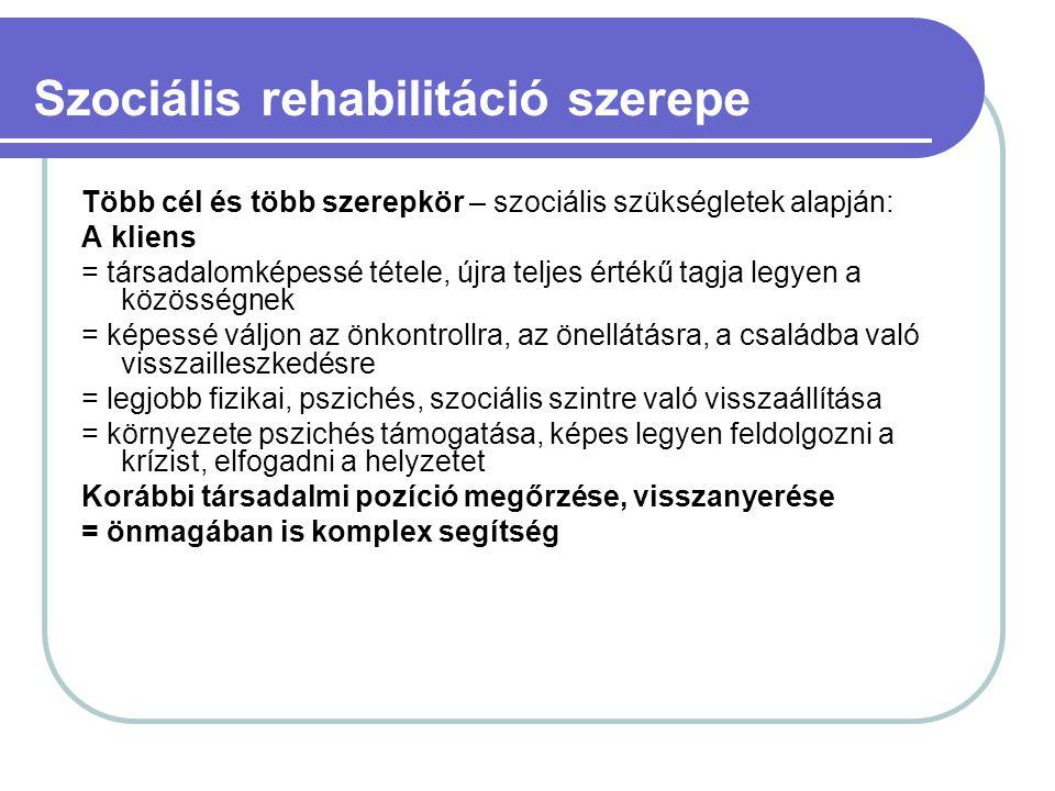 Szociális rehabilitáció szerepe