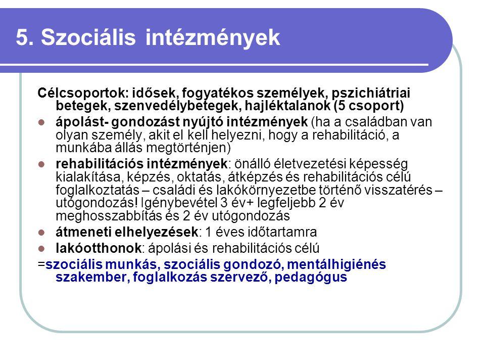 5. Szociális intézmények