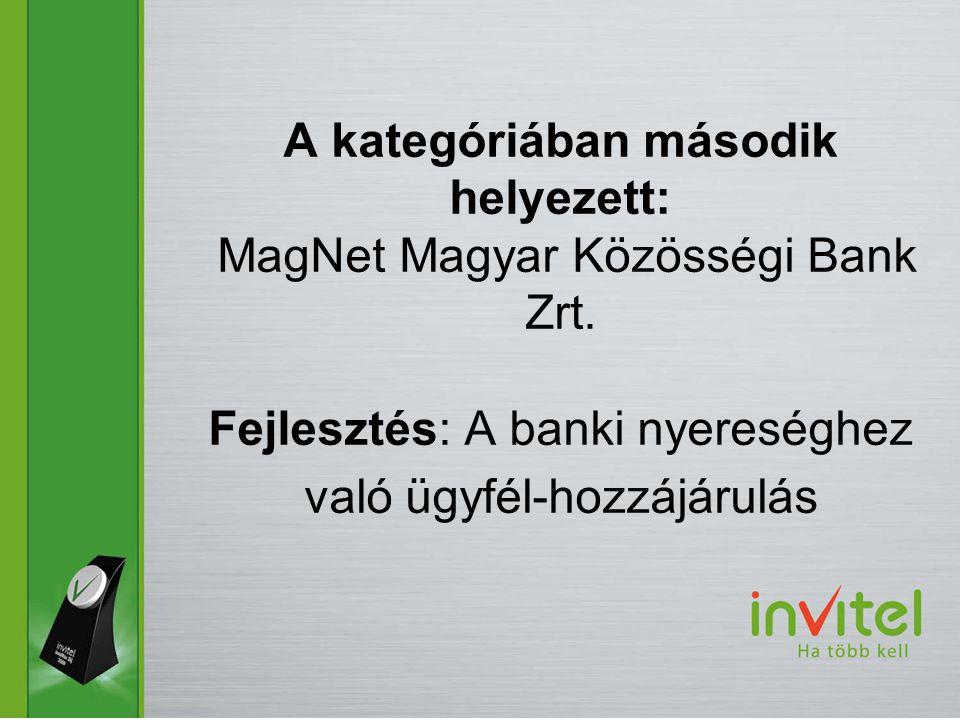 A kategóriában második helyezett: MagNet Magyar Közösségi Bank Zrt