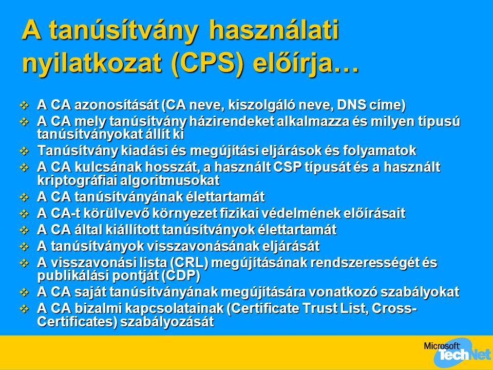 A tanúsítvány használati nyilatkozat (CPS) előírja…