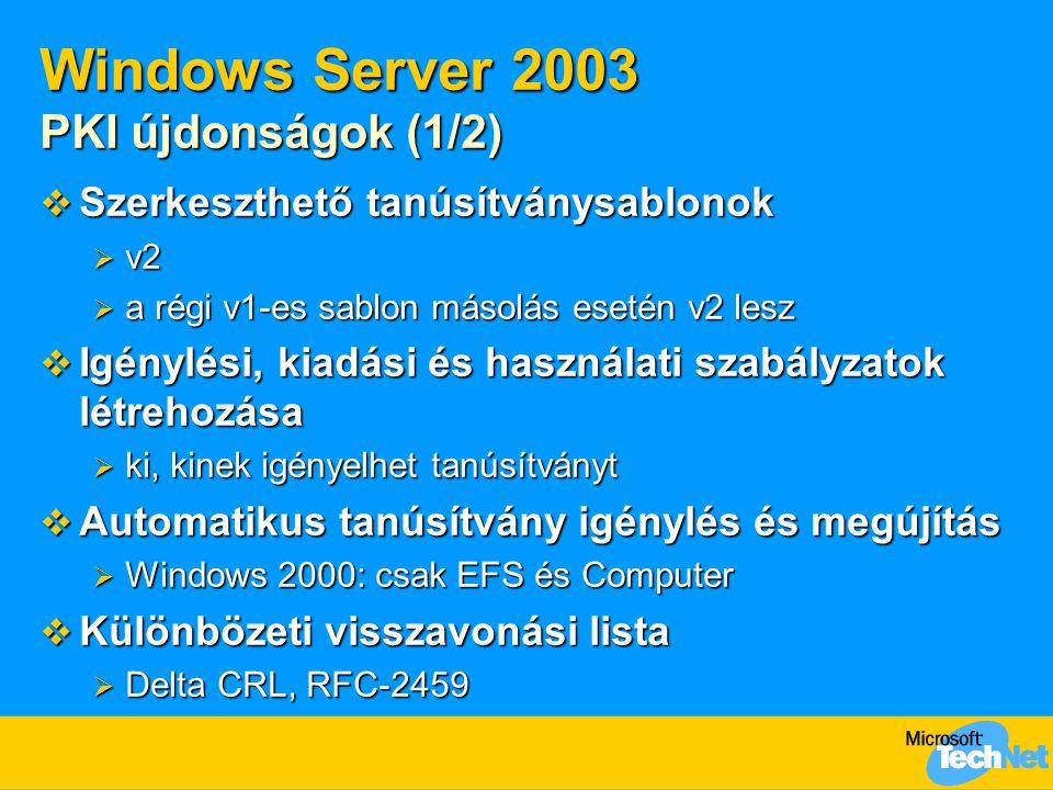Windows Server 2003 PKI újdonságok (1/2)