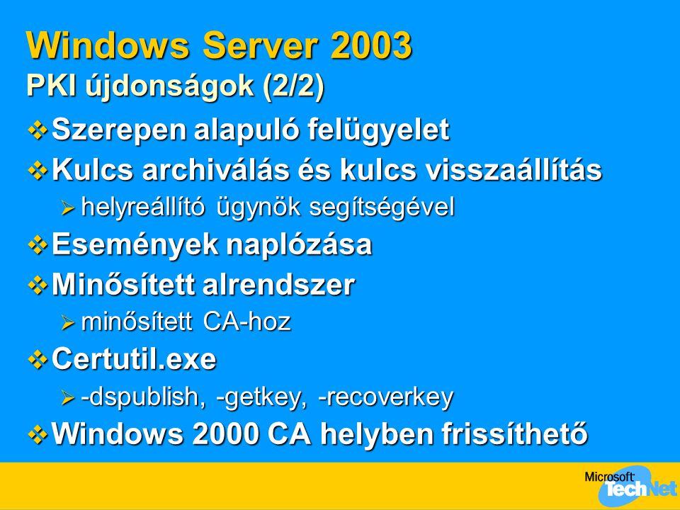 Windows Server 2003 PKI újdonságok (2/2)