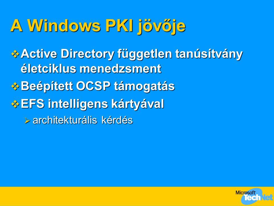 A Windows PKI jövője Active Directory független tanúsítvány életciklus menedzsment. Beépített OCSP támogatás.