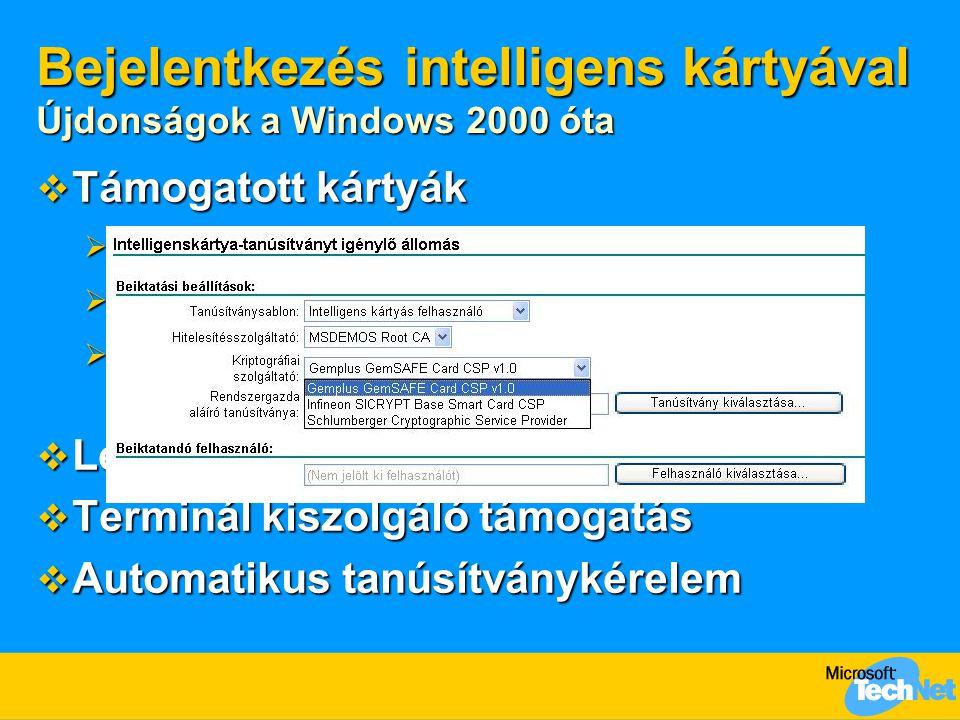 Bejelentkezés intelligens kártyával Újdonságok a Windows 2000 óta
