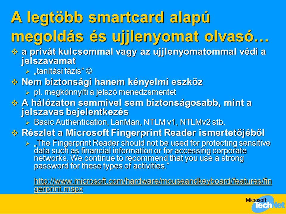 A legtöbb smartcard alapú megoldás és ujjlenyomat olvasó…