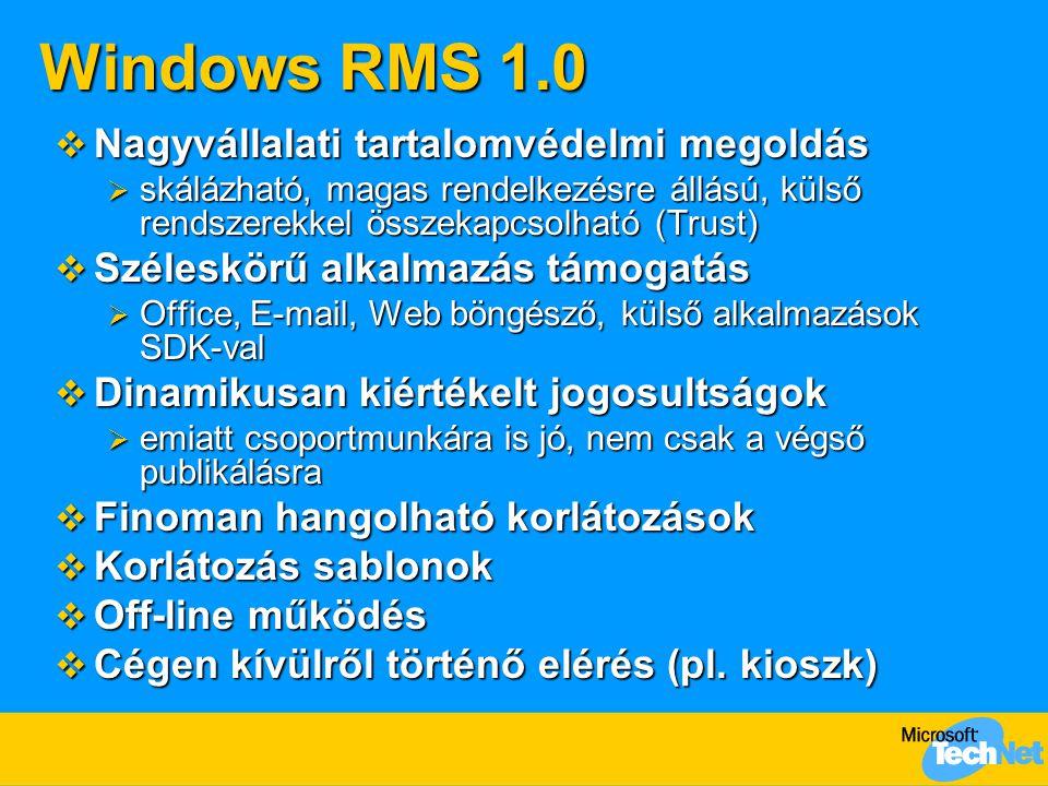 Windows RMS 1.0 Nagyvállalati tartalomvédelmi megoldás