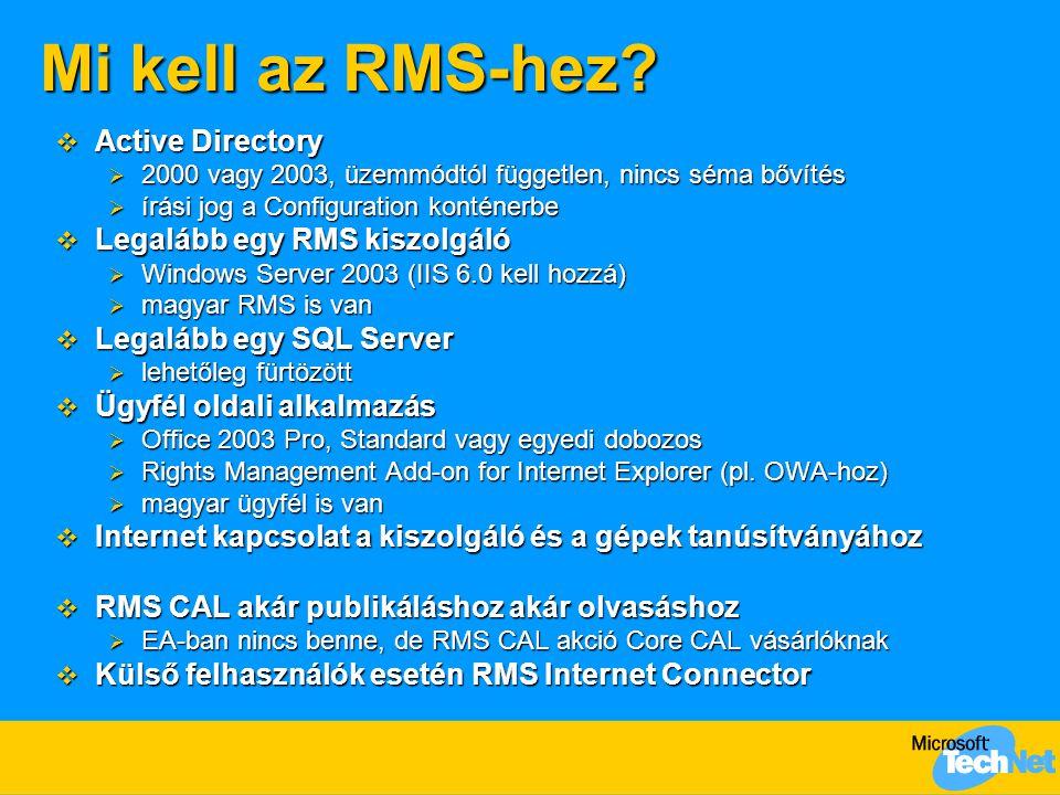 Mi kell az RMS-hez Active Directory Legalább egy RMS kiszolgáló
