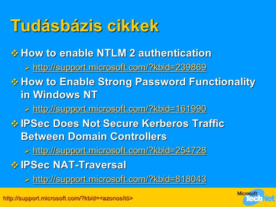 Tudásbázis cikkek How to enable NTLM 2 authentication