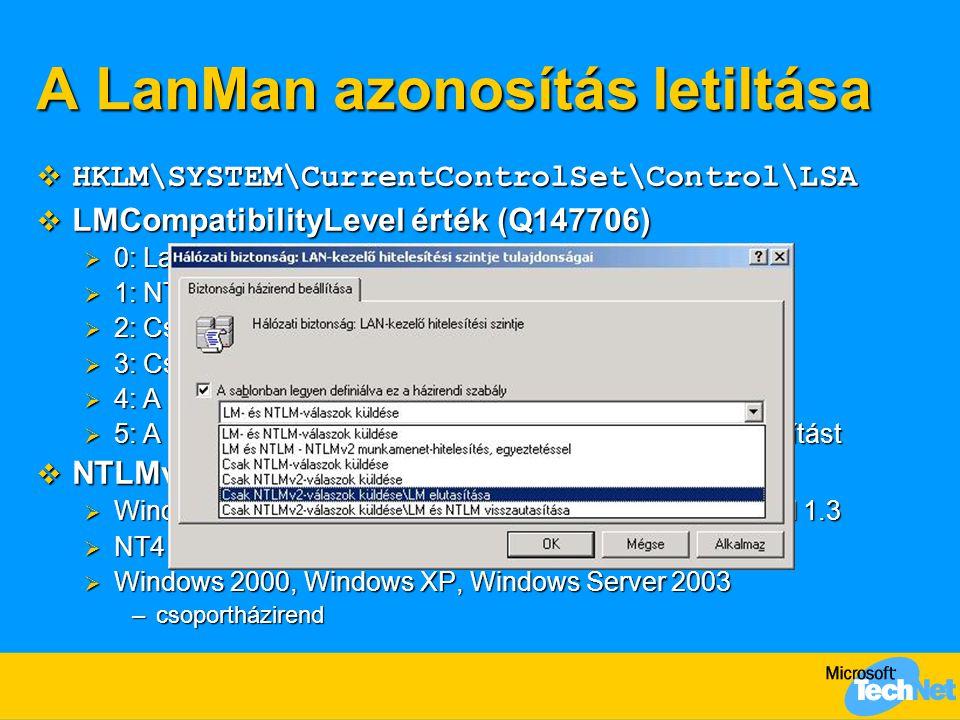 A LanMan azonosítás letiltása