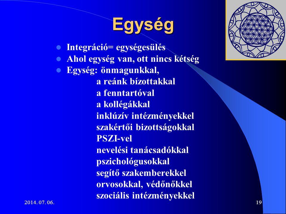 Egység Integráció= egységesülés Ahol egység van, ott nincs kétség