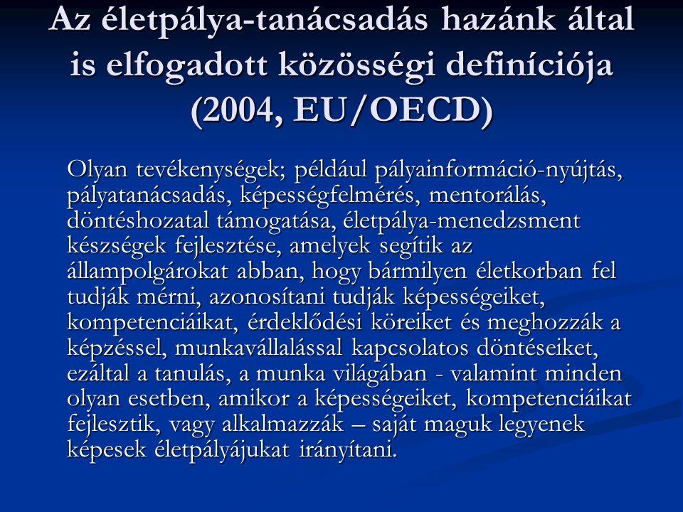 Az életpálya-tanácsadás hazánk által is elfogadott közösségi definíciója (2004, EU/OECD)