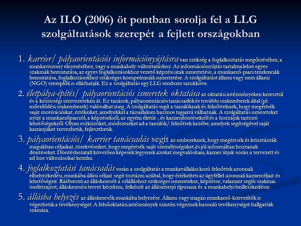 Az ILO (2006) öt pontban sorolja fel a LLG szolgáltatások szerepét a fejlett országokban