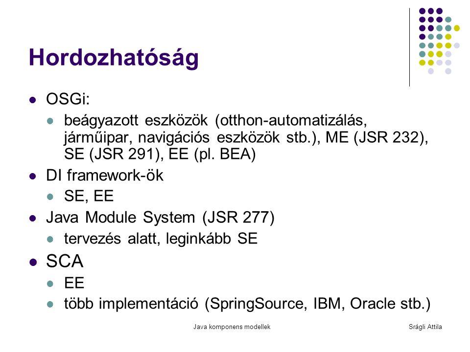 Hordozhatóság SCA OSGi: DI framework-ök Java Module System (JSR 277)