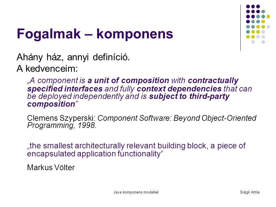 Fogalmak – komponens Ahány ház, annyi definíció. A kedvenceim: