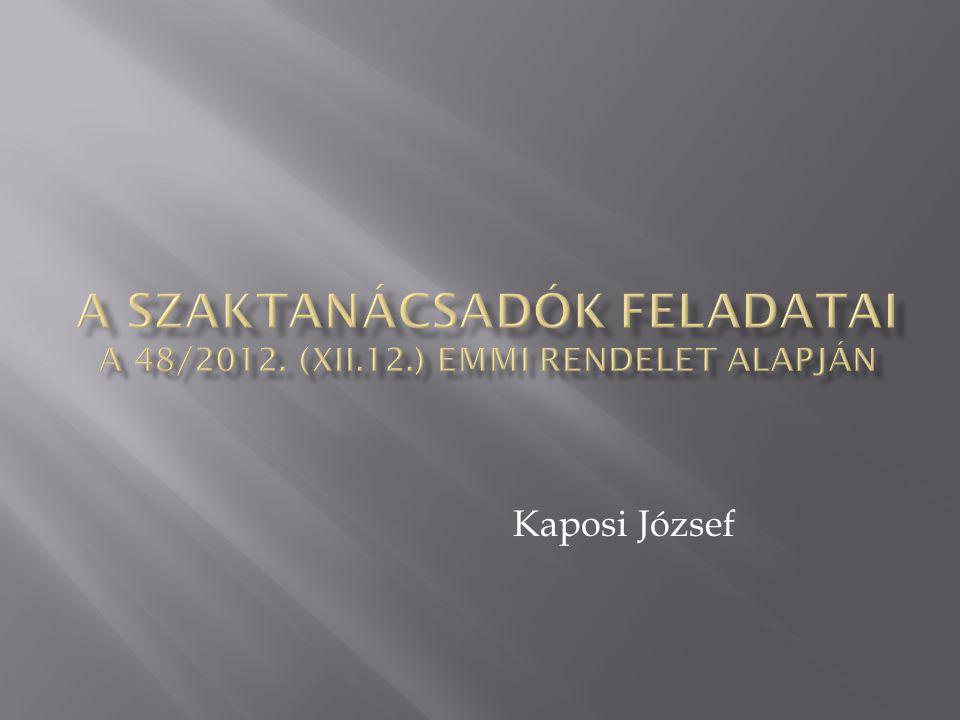 A Szaktanácsadók feladatai a 48/2012. (XII.12.) EMMI rendelet alapján