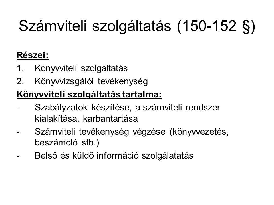 Számviteli szolgáltatás (150-152 §)