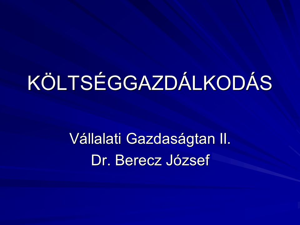 Vállalati Gazdaságtan II. Dr. Berecz József