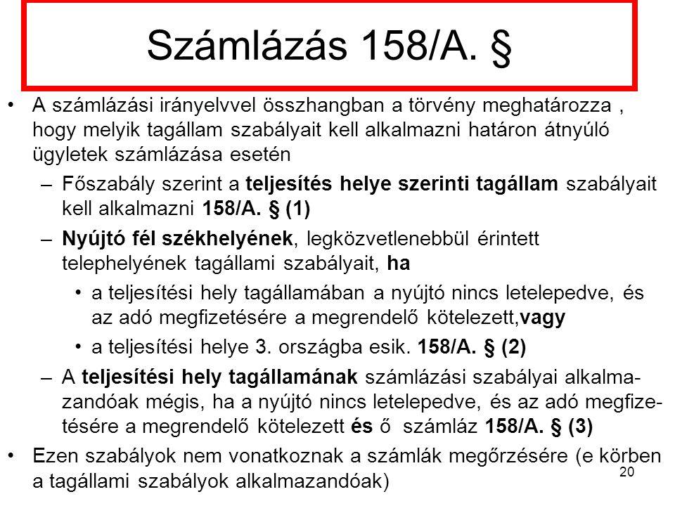 Számlázás 158/A. §