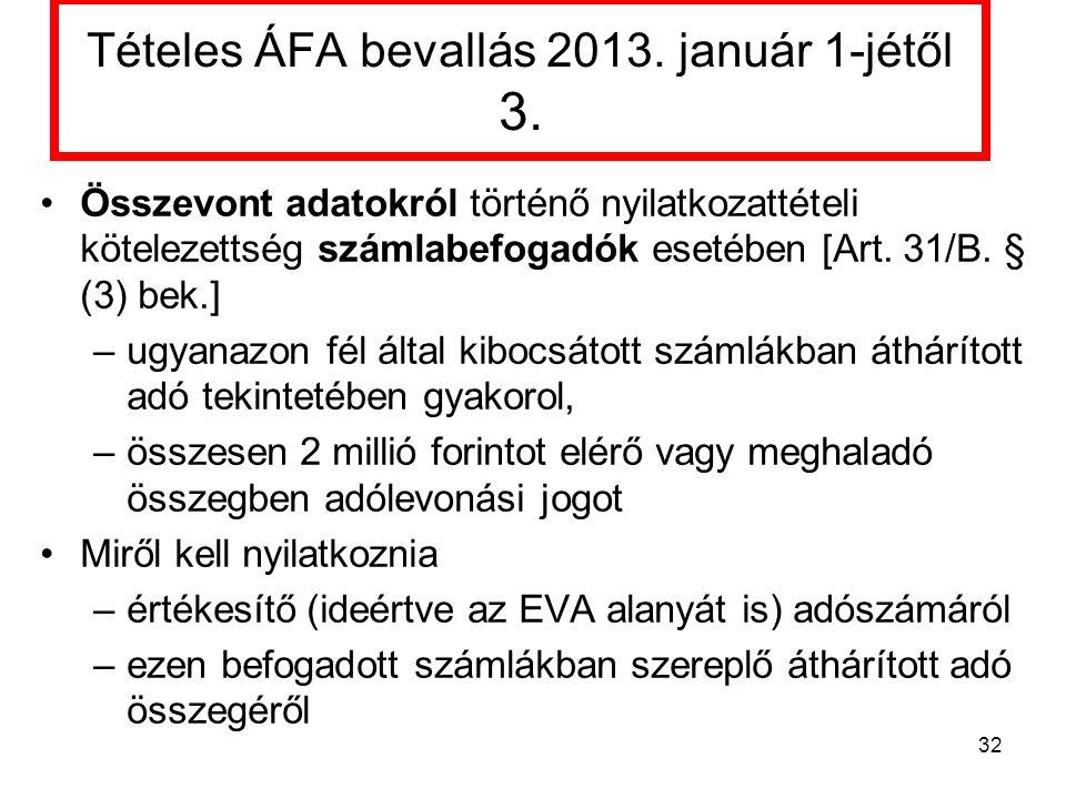 Tételes ÁFA bevallás 2013. január 1-jétől 3.