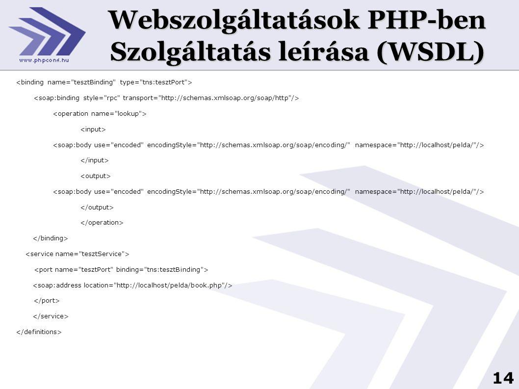 Webszolgáltatások PHP-ben Szolgáltatás leírása (WSDL)