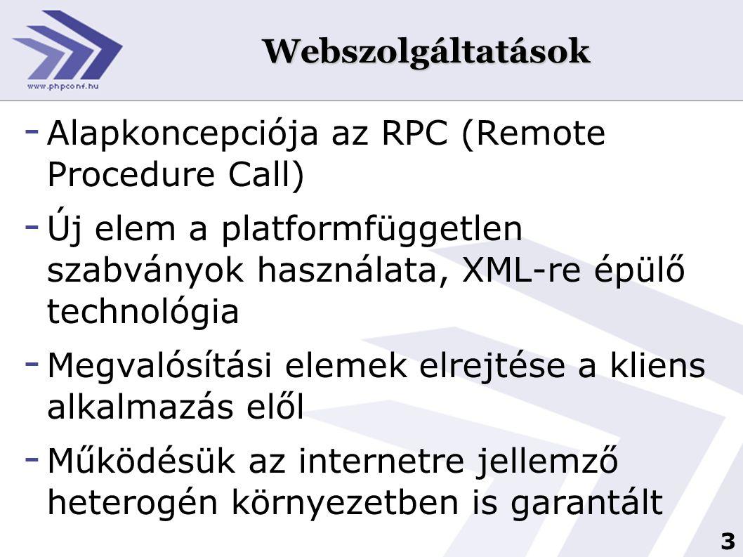 Webszolgáltatások Alapkoncepciója az RPC (Remote Procedure Call) Új elem a platformfüggetlen szabványok használata, XML-re épülő technológia.