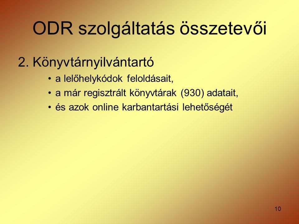 ODR szolgáltatás összetevői