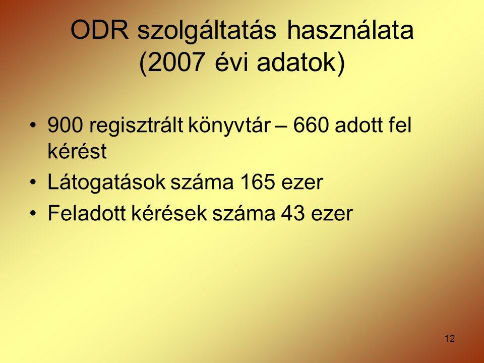 ODR szolgáltatás használata (2007 évi adatok)