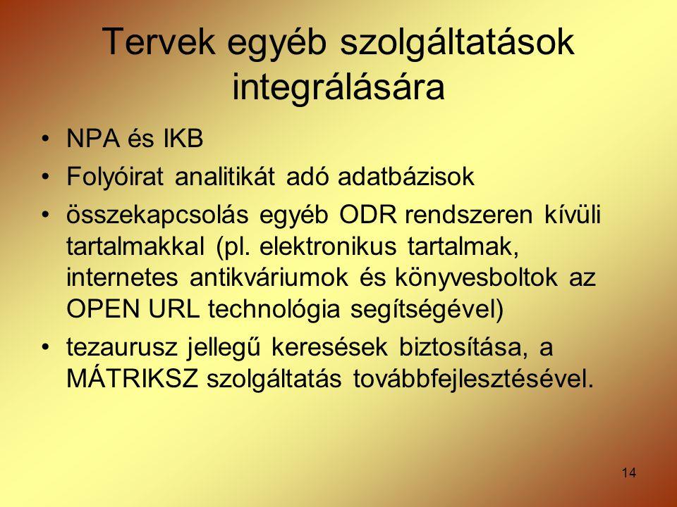 Tervek egyéb szolgáltatások integrálására
