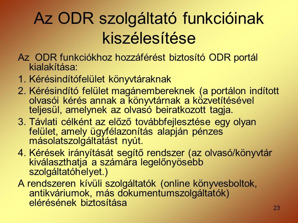 Az ODR szolgáltató funkcióinak kiszélesítése