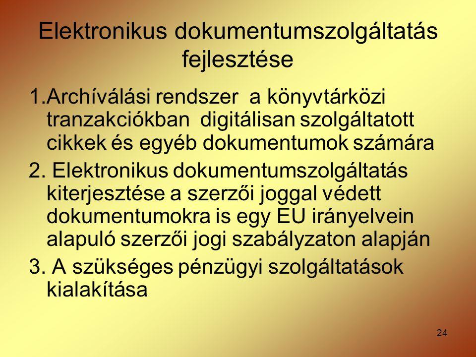 Elektronikus dokumentumszolgáltatás fejlesztése