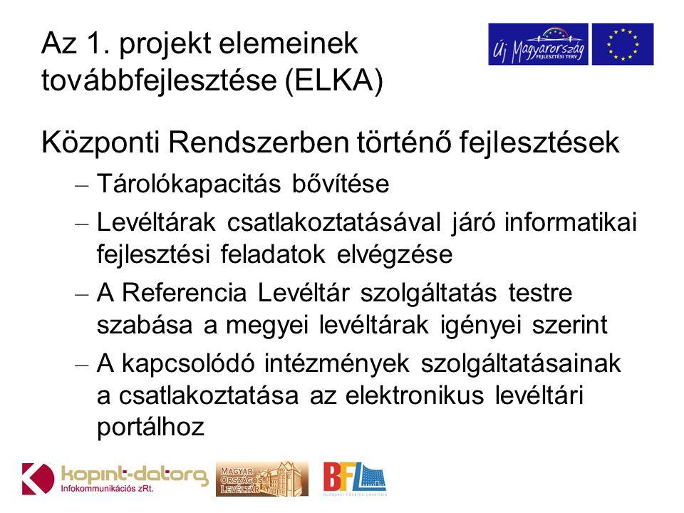 Az 1. projekt elemeinek továbbfejlesztése (ELKA)
