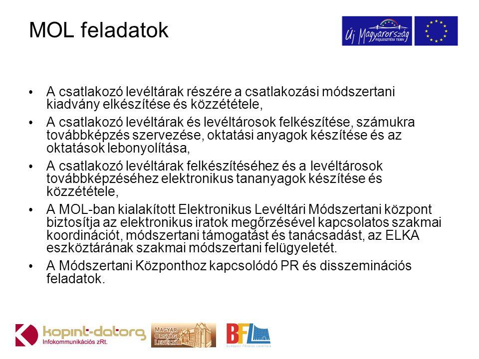 MOL feladatok A csatlakozó levéltárak részére a csatlakozási módszertani kiadvány elkészítése és közzététele,