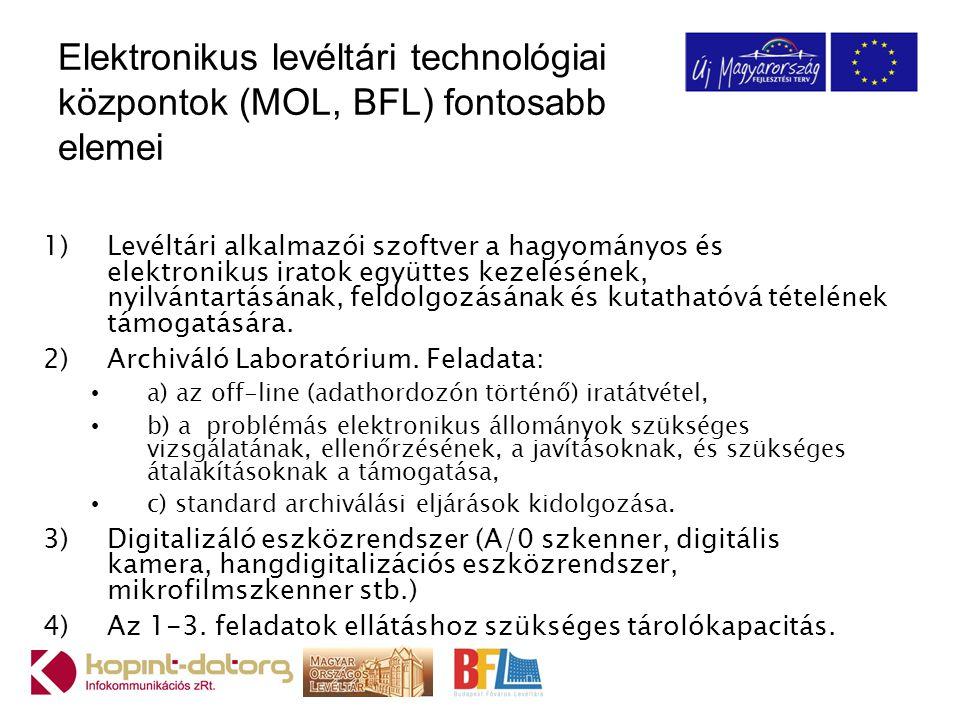 Elektronikus levéltári technológiai központok (MOL, BFL) fontosabb elemei