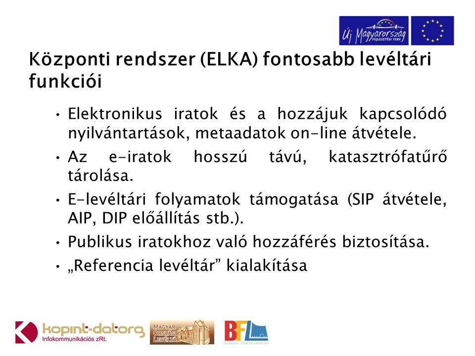 Központi rendszer (ELKA) fontosabb levéltári funkciói