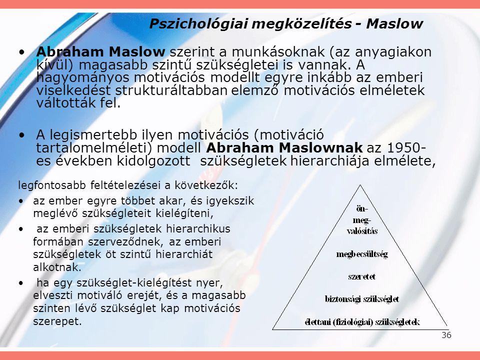 Pszichológiai megközelítés - Maslow